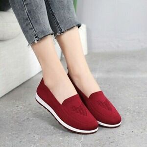 Women Casual Shoes Sneakers Slip On Flat Loafers Walking Breathable Shoe Comfort