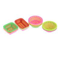 4PCS 1:12 Scale  Dolls House Miniature Plastic Basket Kitchen Accessories TO