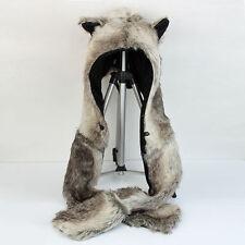 Brown Bear Faux Fur Animal Hood Hoodie 3 in 1 Function w/Scarf  Glove New