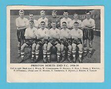 FOOTBALL  -  ANONYMOUS  FOOTBALL  TEAM  CARD  -  PRESTON  F.C.  -  1958-59