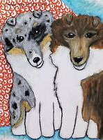 Double Trouble Sheltie Collie Puppies Pop Art Print 8x10 Dog Collectible Signed