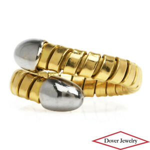 Estate 18K Gold Two Tone Unique Elastic Snake Ring 10.0 Grams NR