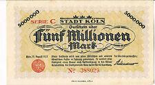 Alemania Notgeld Stadt KOLN 2 millones de marcas de 015 de agosto de 1923 AU UNC Serie C