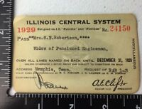 Vintage Illinois Central System 1929 Railway Pass Widow Of Engineer Rare