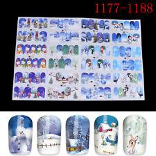 12Pcs/Sheets Christmas Water Transfer Nail Art Decoration Stickers Decals Xmas B