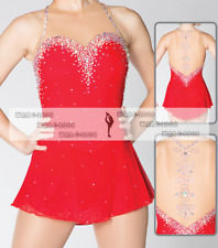 Red Girl Marvellous Ice Skating Figure skating Dress Gymnastics Costume Y136
