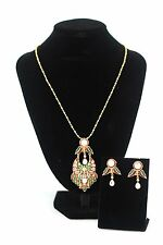 Red, green & gold vintage style indian pendant, chain & earrings set