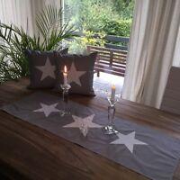 Landhausstil Tischläufer, Tischdecke * Sterne* grau/weiß 40x116cm.