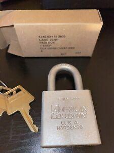 NOS PRISON MILITARY AMERICAN LOCK COMPANY 5200 SERIES HARDENED STEEL PADLOCK