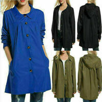 Womens Long Sleeve Hooded Wind Jacket Ladies Outdoor Waterproof Rain Coat Plus