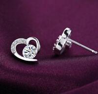 Earrings Heart Women Silver Stud Jewelry Ear Crystal Fashion Sterling 925 Love