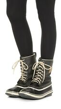SOREL SHOES 1964 PREMIUM CANVAS LACE UP BOOT WATERPROOF WINTER 8.5 BLACK/FOSSIL