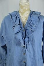 Chaus Sport Womens Medium Blue Jean Denim Long Sleeve Ruffle V-Neck Button Down