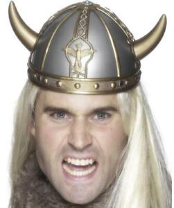Plastic gold and silver moulded Viking Fancy Dress Hat with horns