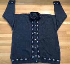 Merino Mink Cardigan Sweater New Zealand Wool Possum Fur Blue Sz Large