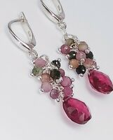 STERLING SILVER PINK QUARTZ TOURMALINE CLUSTER DROP EARRINGS