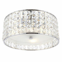 Flush Ceiling Fitting IP44 Crystal Glass-Steel Bathroom 300mm Diameter