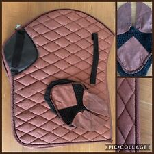 Matchy Set, Saddle Pad & Fly Veil, FULL, BROWN Glitter, FREE UK Postage