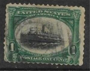 2v0827 Scott 294 US Stamp 1901 1c Fast Lake Navigation Boat Steamer Used