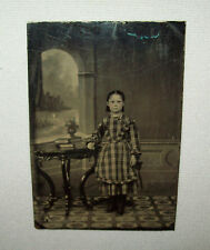 Antique Vtg C 1870s Tintype Photograph Young Girl Nice Dress Great Carpet Nice