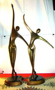 """PR 32"""" TALL MODERN ARTMAX #1932 PT 1&2 ART DECO DANCER RESIN SCULPURES FIGURES"""