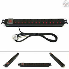 "POWERLYNX 19"" 7 Way UK Power Distribution Strip Unit Extension PDU Rack Cabinet"