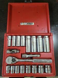 Vintage Mac Tools 19 Pc. 3/8 Drive SX196BR Socket Ratchet Extension Set