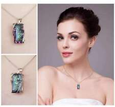 925 Silver Mystic Rainbow Topaz Pendant Chain 24inch Chocker Necklace Party Prom