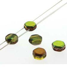 Magic Yellow-Brown 30pc 6mm 2-Hole Czech Glass Honeycomb Beads