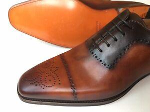 Magnanni 'Leyton' Cognac Medallion Cap Toe Brogues Leather Oxford Size US 10