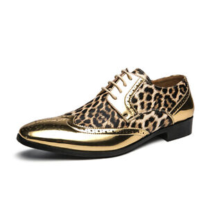 Nightclub Mens Dress Formal Business Leisure Shoes Pointy Toe Leopard Oxfords 45