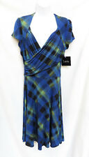 NWT LEOTA Sweetheart Womens Blue Black Fit & Flare Faux Wrap Jersey Dress L