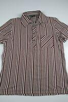 Hugo Boss Mens Polo Shirt Size M Striped Short Sleeve Cotton Black Label