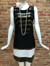 NEXT Black White Sequins Flapper Gatsby 1920s Inspired Party Dress Size 10 BNWT
