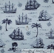 BonEful Fabric FQ Cotton Quilt Navy Blue Sail Boat Beach Sea Ship Palm Tree Tone