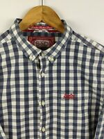 SuperDry Men's Sz Lg Check Plaid Button Down Long Sleeve Casual Shirt EUC!!!!!!