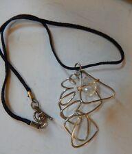 "Art Deco Silver Tone Pendant w/ Faceted Bead & Black Fabric Cord Toggle 16.5 000002B3 """