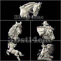 5 3D STL Models Horses Head set for CNC Router Carving Machine Artcam aspire
