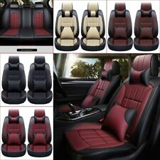 SUV Car Seat Cover Full Set 5-seat Deluxe PU Leather Protector Headrest+Cushion