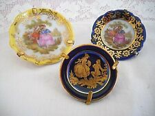 Vintage Set Of 3 Limoges Miniature Porcelain Plates / Stand Courting Couples