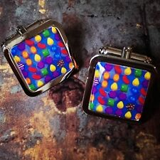 Unique! CANDY CRUSH SAGA CUFFLINKS chrome GAMING ADDICT designer GIFT fab