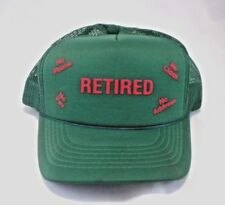 Retired Green Trucker Mesh Cap Snapback Adjustable Funny Hat Retiree Retirement