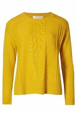 NEW Ex M&S Ochre Mustard Yellow Womens Cable Knit Short Jumper Size 20 22