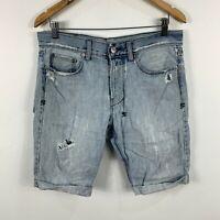 Ksubi Mens Denim Shorts Size 32 Blue Heavy Distressing