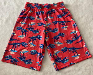 Cat & Jack Boys Red Blue Surfing T Rex Dinosaur Skeleton Pajama Shorts 12-14