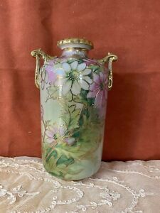 Vtg Antique Nippon  Shape Vase Hand Painted Flowers w/ Gold Moriage Accent
