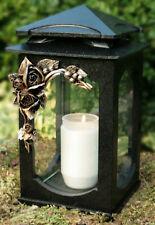 Grablaterne Grablampe Grableuchte Grabschmuck Bronze Rose inkl. Grablicht Kerze