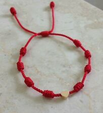 Adult Red Knot Bracelet good luck charm Gold Heart (Corazon Dorado)