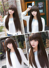 Dark Brown Long Straight Neat Bangs Women Lady Cosplay Party Hair Wig Wigs + Cap