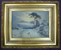 Antique framed Oil on canvas Painting Winter landscape signed W.Emery 1921